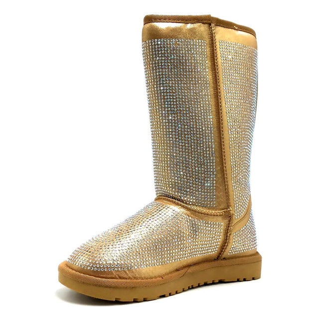 Pazzle Angel Gold Color Boots Left Side view, Women Shoes