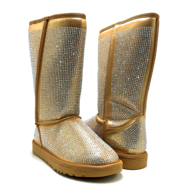 Pazzle Angel Gold Color Boots Both Shoes together, Women Shoes
