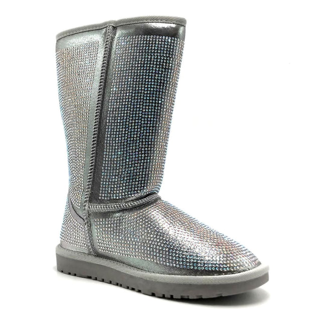 Pazzle Angel Silver Color Boots Right Side View, Women Shoes