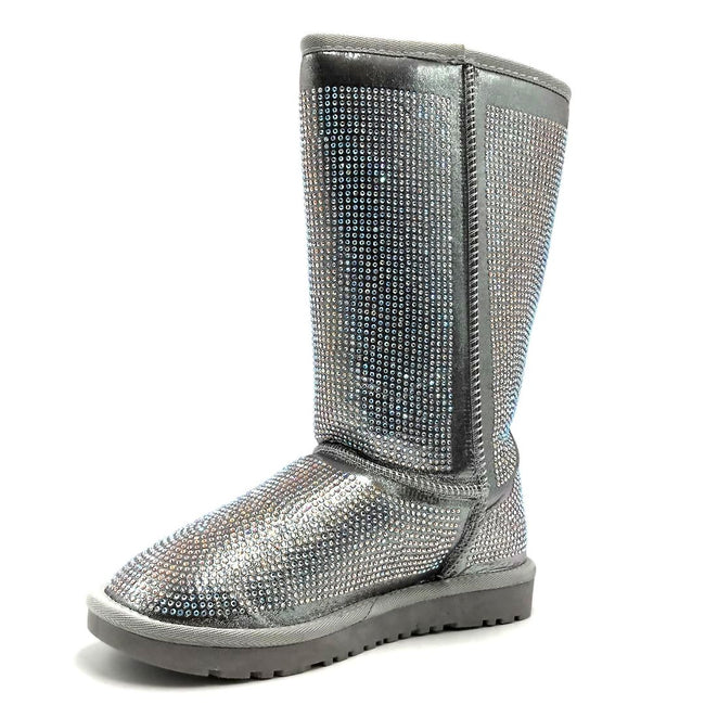 Pazzle Angel Silver Color Boots Left Side view, Women Shoes