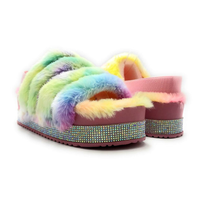 Pazzle Cecilia-03 Cotton Candy Color Flat-Sandals Both Shoes together, Women Shoes