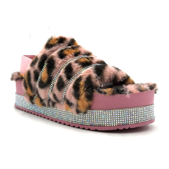 Pazzle Cecilia-03 Pink Leopard Color Flat-Sandals Right Side View, Women Shoes
