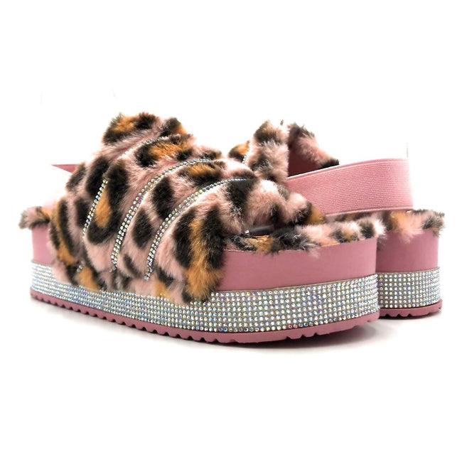 Pazzle Cecilia-03 Pink Leopard Color Flat-Sandals Both Shoes together, Women Shoes