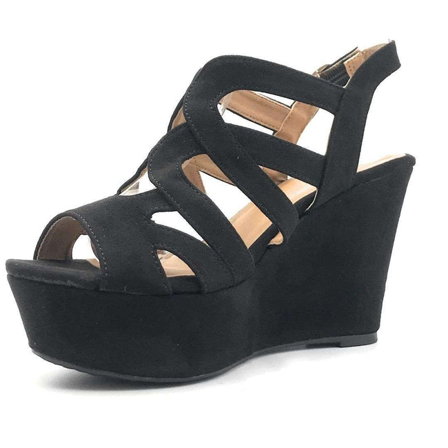 Qupid Ardor-171 Black Suede Color Wedge Shoes for Women