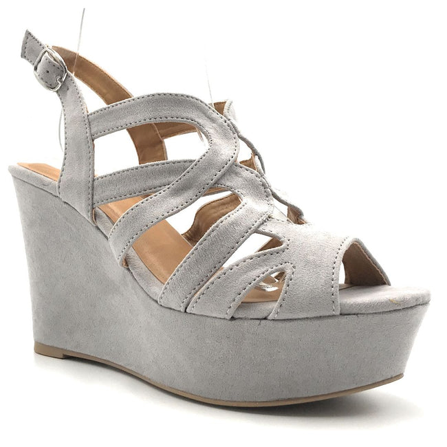 Qupid Ardor-171 Lt Grey Suede Color Wedge Shoes for Women