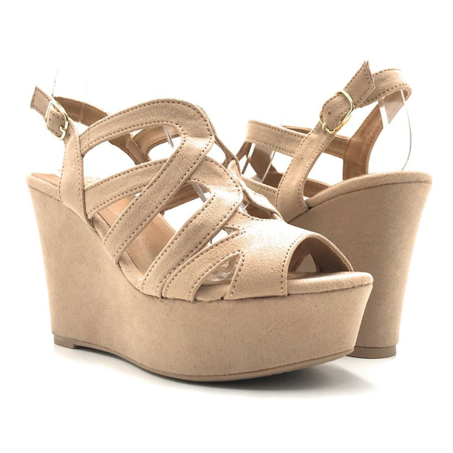 Qupid Ardor-171 Warm Taupe Suede Color Wedge Shoes for Women