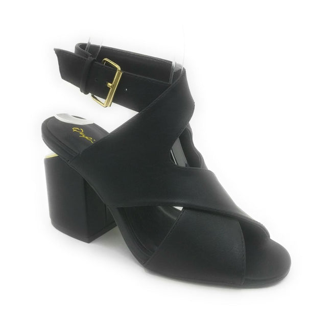 Qupid Bosa-03 Black PU Color Heels Shoes for Women