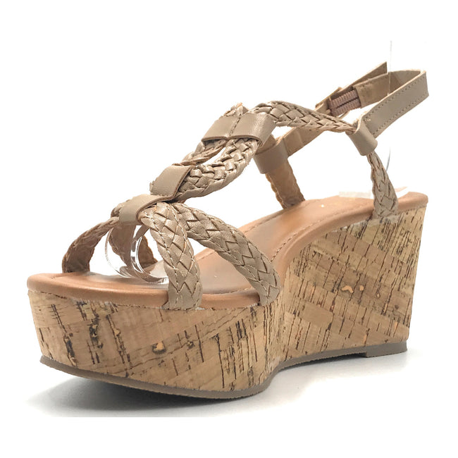 Qupid Caleb-22 Taupe Pu Color Wedge Shoes for Women