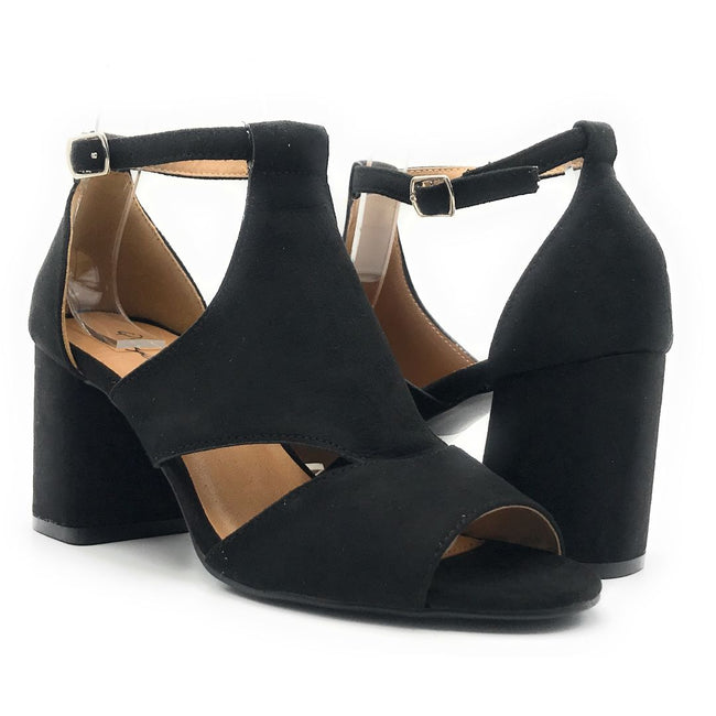 Qupid Capsule-08X Black Suede Color Heels Shoes for Women