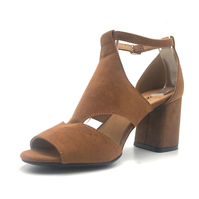Qupid Capsule-08X Chestnut Suede Color Heels Shoes for Women