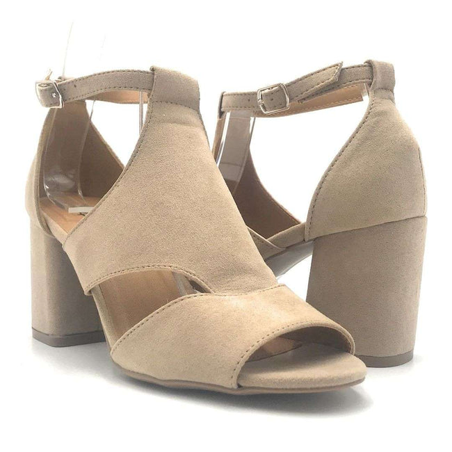 Qupid Capsule-08X Taupe Suede Color Heels Shoes for Women