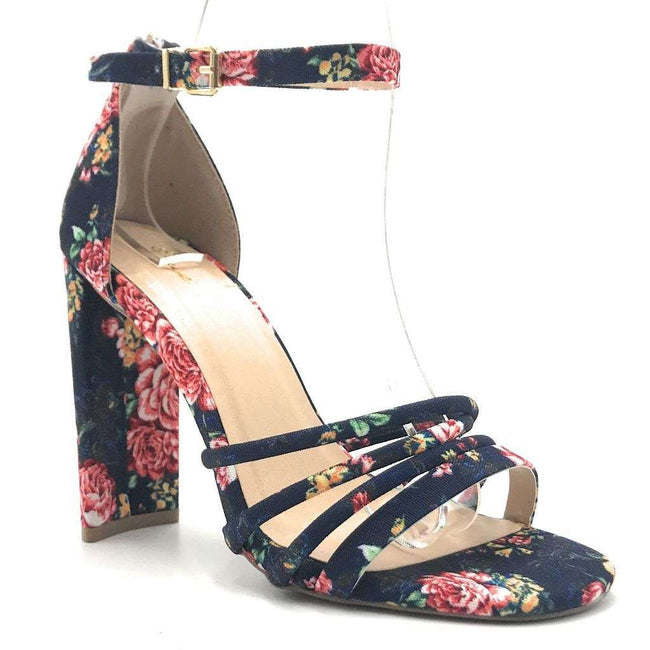 Qupid Elsi-20 Blue Multi Fabric Color Heels Shoes for Women