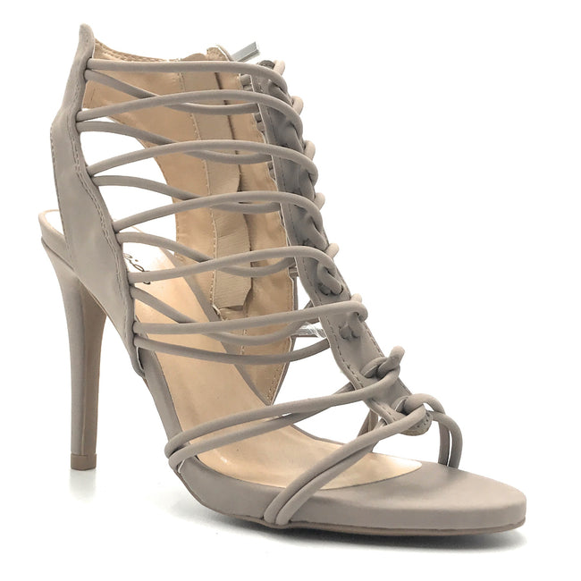 Qupid Jealous-18 Taupe Nub Color Heels Shoes for Women