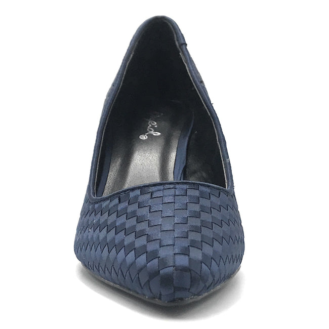 Qupid Portia-28 Navy Woven Color Heels Shoes for Women
