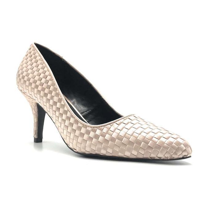 Qupid Portia-28 Nude Woven Color Heels Shoes for Women