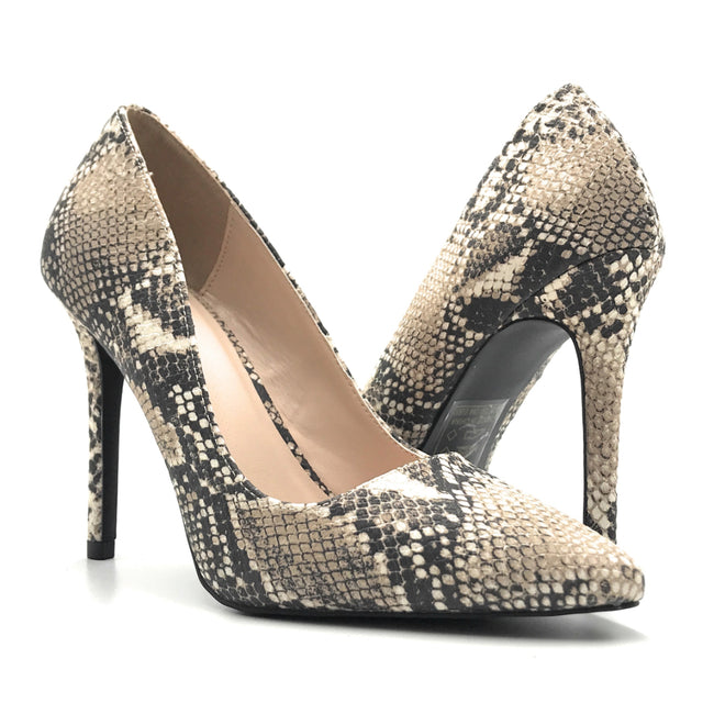 Qupid Show-01 Beige-Brown Snake Color Pumps Shoes for Women