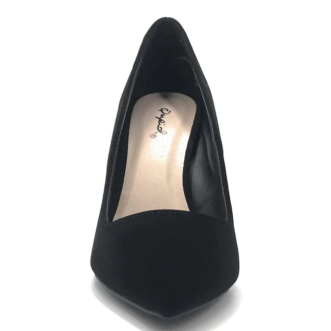 Qupid Show-01 Black Nubuck Color Pumps Shoes for Women