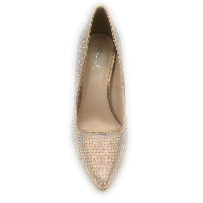 Qupid Show-72A Rose Gold Color Heels Shoes for Women