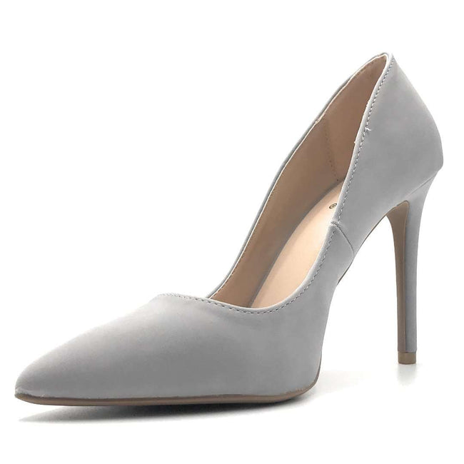 Qupid Showoff-01 Ash Grey Nub Color Heels Shoes for Women