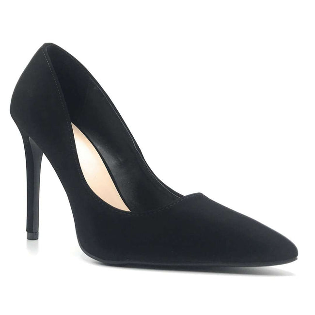 Qupid Showoff-01 Black Nub Color Heels Shoes for Women