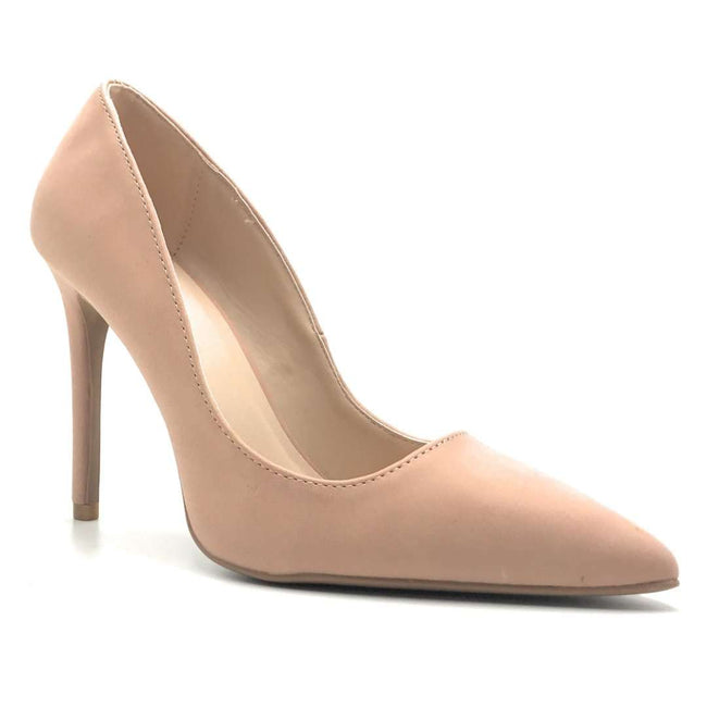 Qupid Showoff-01 Blush Nub Color Heels Shoes for Women