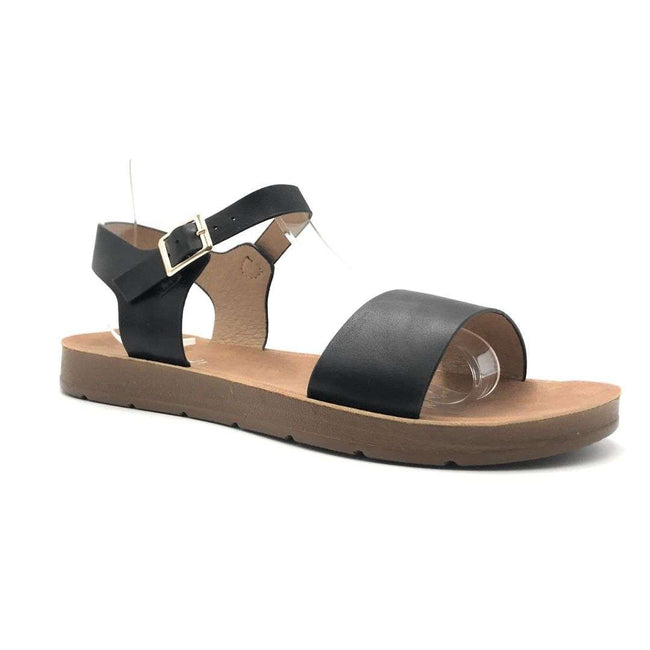 Refresh Ashley-08 Black Color Flat-Sandals Shoes for Women