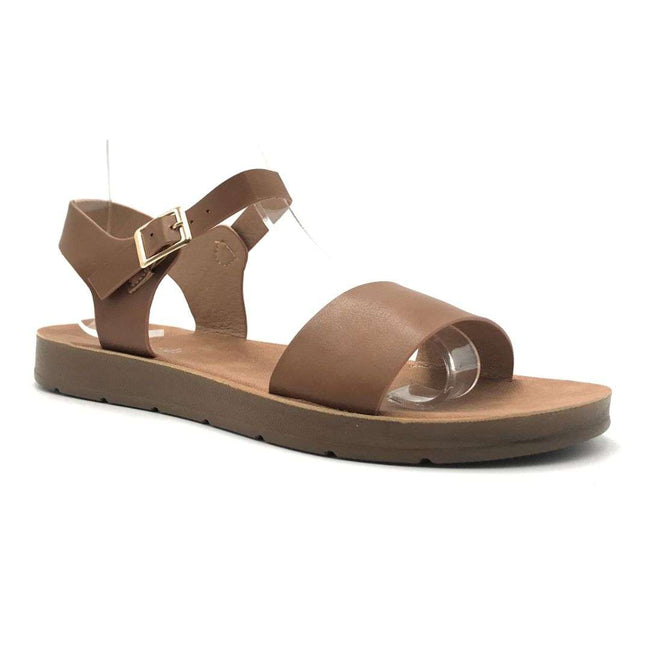 Refresh Ashley-08 Tan Color Flat-Sandals Shoes for Women