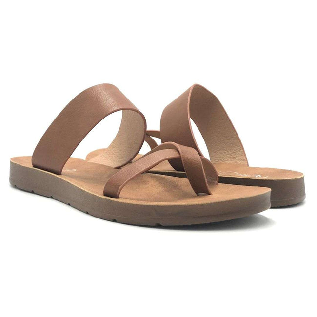 Refresh Ashley-09 Tan Color Flat-Sandals Shoes for Women