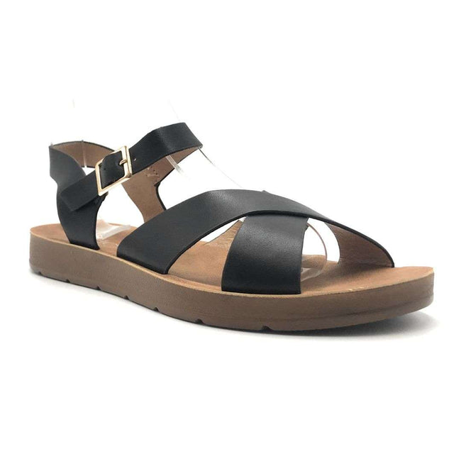 Refresh Ashley-12 Black Color Flat-Sandals Shoes for Women