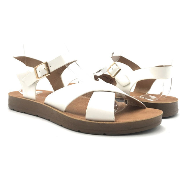 Refresh Ashley-12 White Color Flat-Sandals Shoes for Women