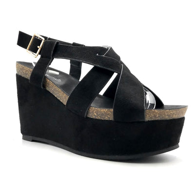 Refresh Gracie-01 Black Color Wedge Right Side View, Women Shoes