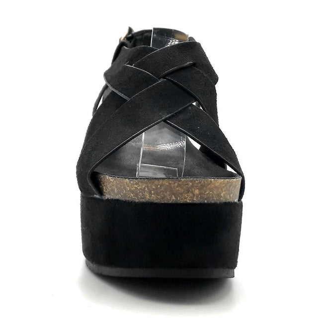 Refresh Gracie-01 Black Color Wedge Front View, Women Shoes