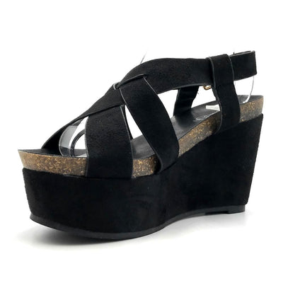 Refresh Gracie-01 Black Color Wedge Left Side view, Women Shoes