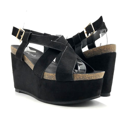 Refresh Gracie-01 Black Color Wedge Both Shoes together, Women Shoes