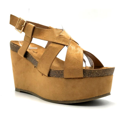 Refresh Gracie-01 Camel Color Wedge Right Side View, Women Shoes