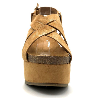 Refresh Gracie-01 Camel Color Wedge Front View, Women Shoes