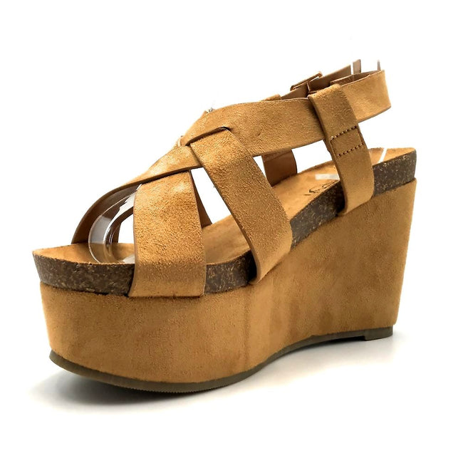 Refresh Gracie-01 Camel Color Wedge Left Side view, Women Shoes
