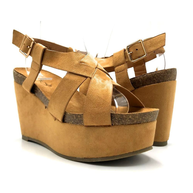 Refresh Gracie-01 Camel Color Wedge Both Shoes together, Women Shoes