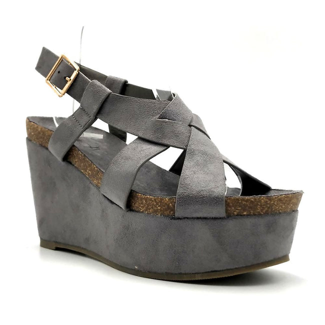 Refresh Gracie-01 Grey Color Wedge Right Side View, Women Shoes