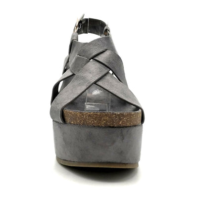 Refresh Gracie-01 Grey Color Wedge Front View, Women Shoes