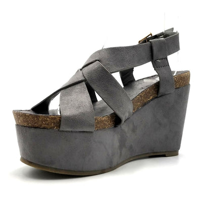 Refresh Gracie-01 Grey Color Wedge Left Side view, Women Shoes
