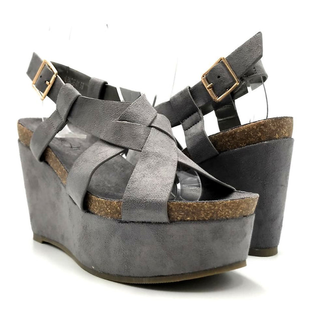 Refresh Gracie-01 Grey Color Wedge Both Shoes together, Women Shoes