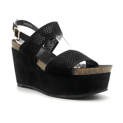 Refresh Gracie-04 Black Color Heels Right Side View, Women Shoes