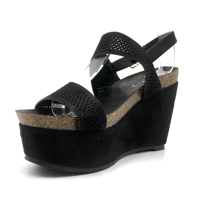 Refresh Gracie-04 Black Color Heels Left Side view, Women Shoes