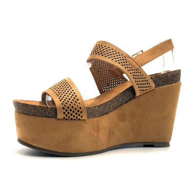 Refresh Gracie-04 Camel Color Heels Left Side view, Women Shoes