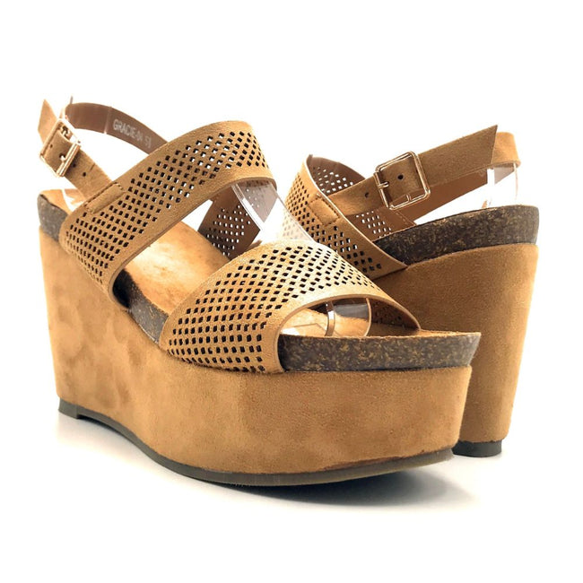 Refresh Gracie-04 Camel Color Heels Both Shoes together, Women Shoes