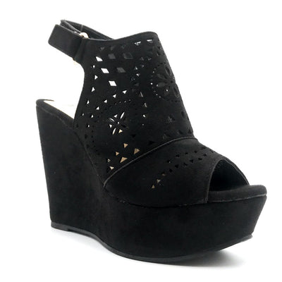Refresh Kama-01 Black Color Wedge Right Side View, Women Shoes
