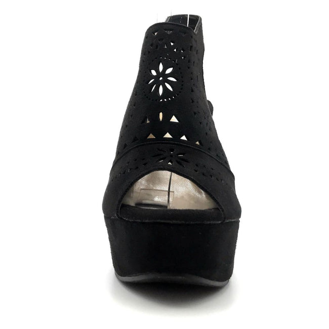 Refresh Kama-01 Black Color Wedge Front View, Women Shoes