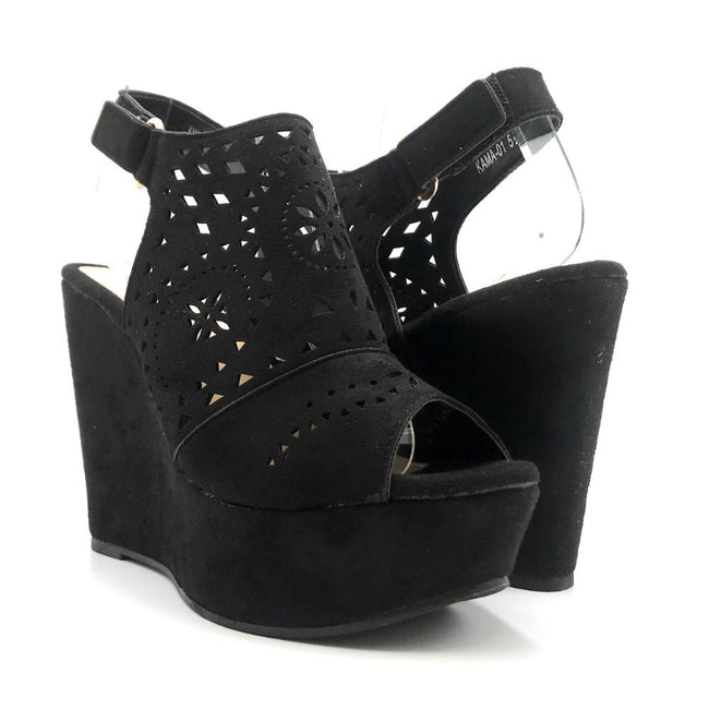 Refresh Kama-01 Black Color Wedge Both Shoes together, Women Shoes