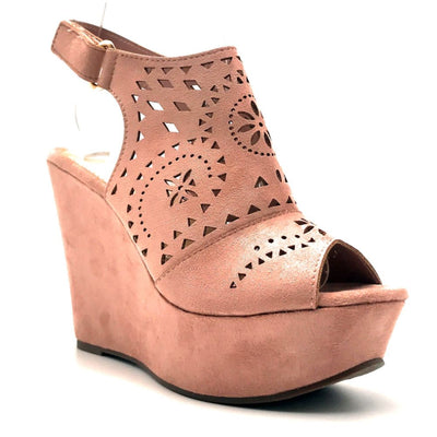 Refresh Kama-01 Mauve Color Wedge Right Side View, Women Shoes